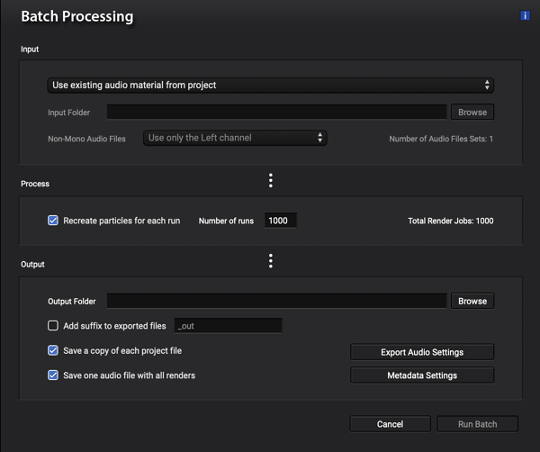 Batch processing in Sound Particles